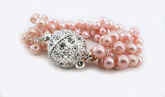 Pink Pearl Rhinestone Brides Bridesmaids Chunky Bracelet