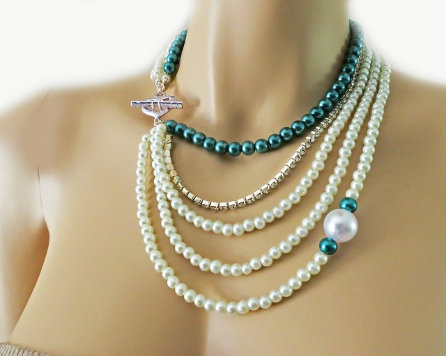 Teal Pearl Rhinestone Bridal Bridesmaids Necklace Chunky Layered