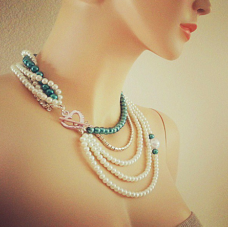 Teal Pearl Rhinestone Necklace