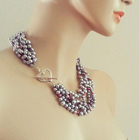 Grey Wedding Necklace
