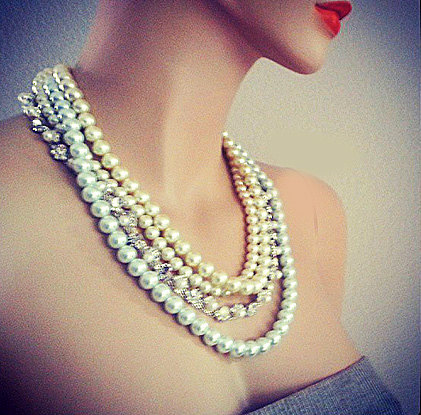 Pearl Rhinestone Wedding Necklace