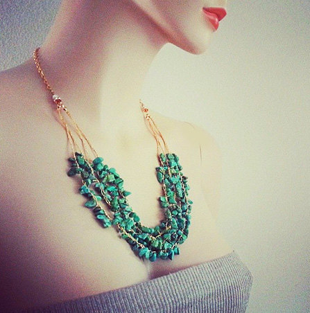 Turquoise Chunky Necklace with Gold