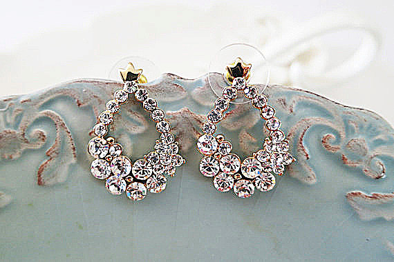 Gold Bridal Rhinestone Drop Earrings