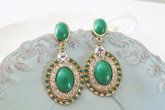Vintage Style Emerald Rhinestone Earrings for Brides