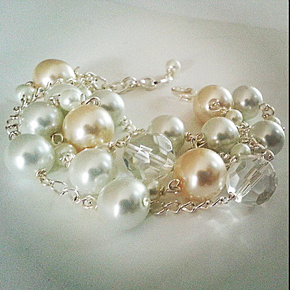 Chunky Bracelet - Pearl Bracelet - Weddings - Bridal - Bridesmaids