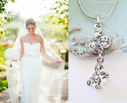 Simple Wedding Crystal Necklace