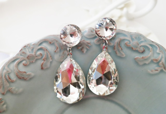 Large Drop Crystal Earrings Bridal Wedding Rhinestone Stud