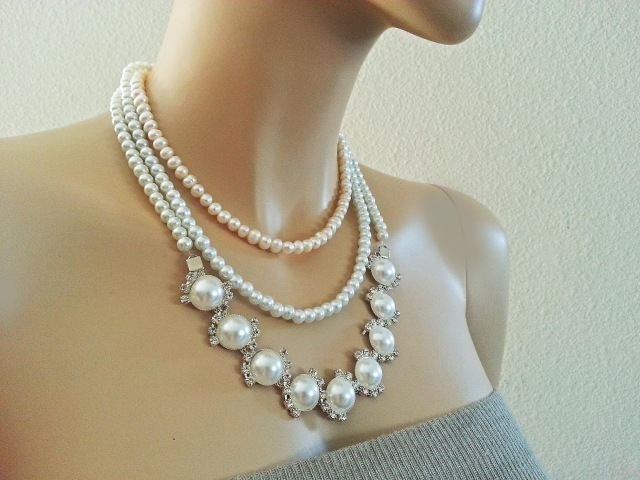 Pearl Bridal Choker Necklace - Wedding Freshwater Pearl Rhinestone Necklace