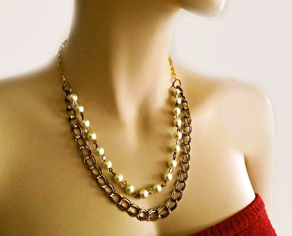 Cream Pearl Crystal Antiqued Brass Necklace - Bridesmaid Pearl Necklace - Rustic Wedding necklace Gift