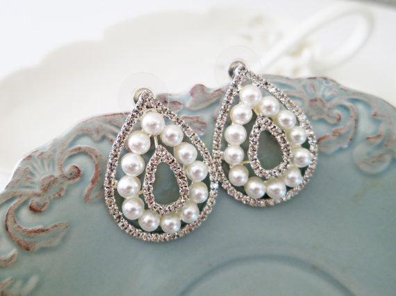 Art Deco Style Large Drop Bridal Pearl Rhinestone Earrings