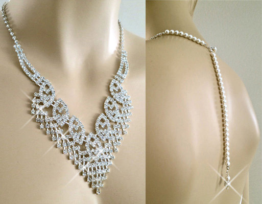 Bridal Back Drop Rhinestone Pearl Necklace - Wedding Swarovski Pearl Necklace - Rhinestone Crystal Backdrop Wedding Accessory
