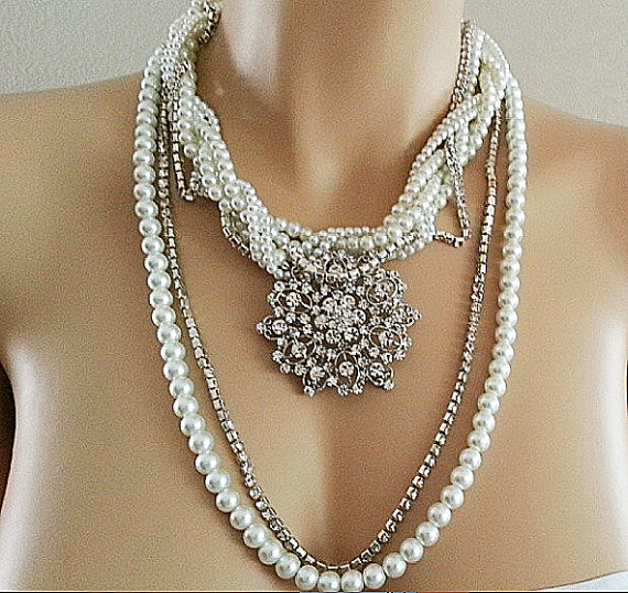 Bridal Necklace - Pearl Rhinestone Statement Wedding Necklace - Chunky Bridal Jewelry - Long - Bohemian Vintage Style