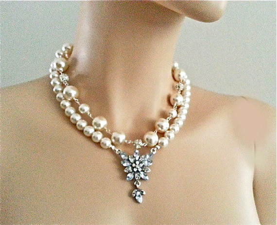 Bridal Pearl Wedding Rhinestone Necklace - Elegant Ivory Pearls Bling Ball Large Pearl Double Strands Wedding Necklace
