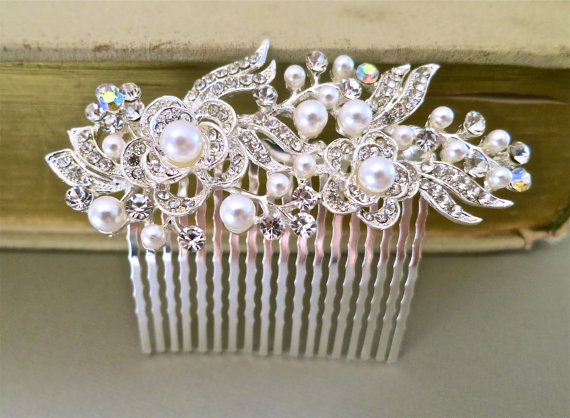 Bridal Hair Comb - Wedding Hair Accessories - Pearl Rhinestone Hair Accessories - Bridal Jewelry White Pearls