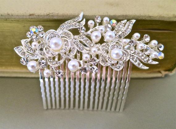 Bridal Hair Comb - Wedding Hair Accessories - Pearl Rhinestone Hair Accessories - Bridal Jewelry White Pearls
