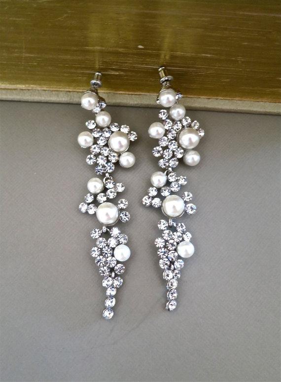 Bridal Chandelier Earrings Rhinestone Ivory Pearl Crystal Wedding Stud
