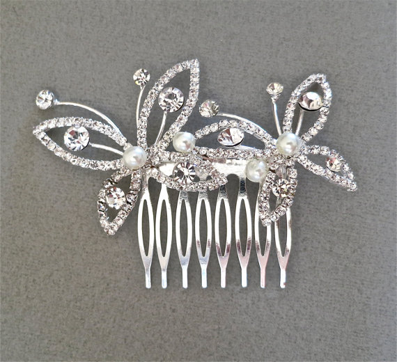 Bridal Hair Comb Rhinestone Pearl Wedding Accessories Butterfly Crystal Silver Hairpiece Bridesmaids Gift