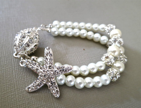 Bridal Starfish Bracelet - Rhinestone Pearl Wedding Bracelet - Crystal Pearl Bridal Bracelet - Wedding Jewelry - Bridal Accessories