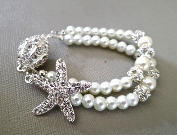 Bridal Starfish Bracelet - Rhinestone Pearl Wedding Bracelet - Crystal Pearl Bridal Bracelet - Wedding Jewelry - Bridal Accessories