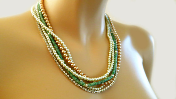 Turquoise Pearl Necklace, Multi Strand Pearl Rhinestone Necklace for Beach Destination Weddings - Green Wedding Pearl Necklace