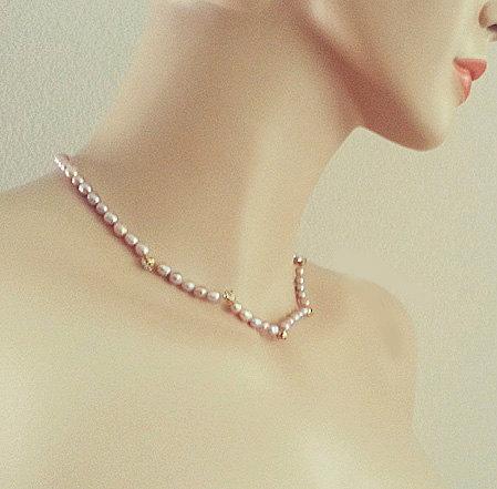 Bridal Necklace Freshwater Pearl Rhinestone Wedding Jewelry Bridesmaid One Strand Necklace Gift