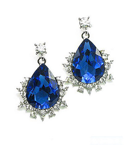 Blue Wedding Crystal Bridal Rhinestone Stud Earrings Jewelry Accessories Bridesmaids Gift