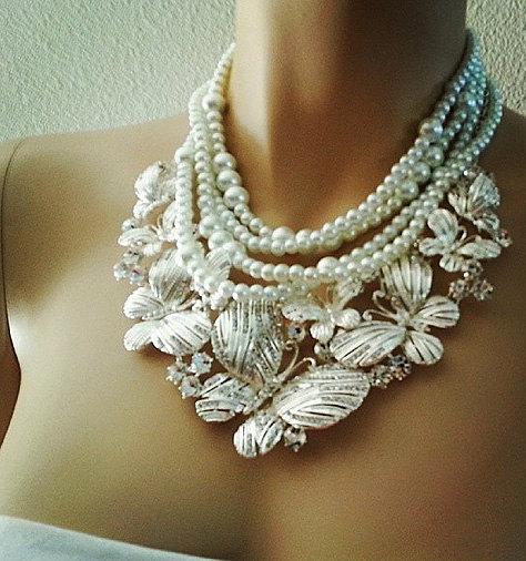 Bridal Bib Necklace Chunky Statement Wedding Rhinestone Crystal Pearl Collar Jewelry