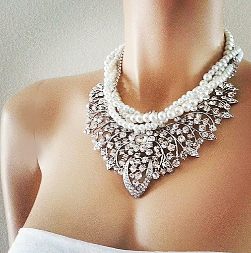 Bridal Bib Necklace Rhinestone Pearl Wedding Jewelry Statement Party Prom Bridesmaid Gift Blue Accessory Occasion Anniversary