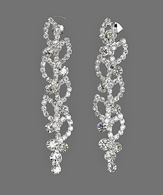 Bridal Rhinestone Earrings Long Crystal Chandelier Wedding Jewelry Engagement Party Earrings Drop Stud Dangle