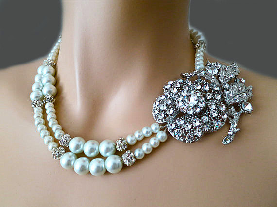 Retro Pearl Bridal Necklace - Old Hollywood Style Rhinestone Flower Wedding Necklace -Vintage Style Wedding Jewelry