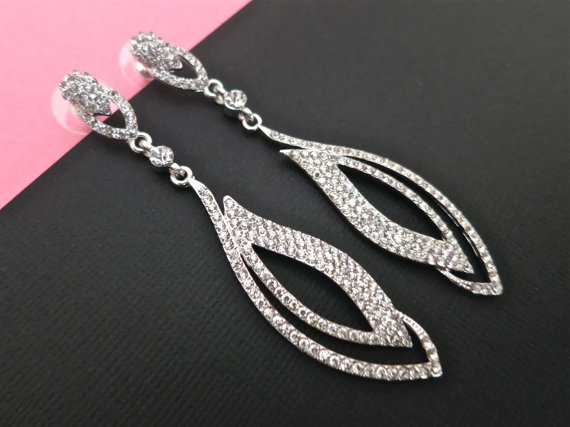 Crystal Bridal Earrings - Long Rhinestone Wedding Earrings - Drop Bridal Jewelry - Wedding Accessories Tulip