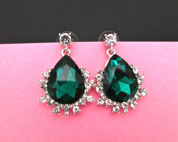 Emerald Green Wedding Earrings - Vintage Style Crystal Bridal Earrings - Bridesmaid Emerald Earrings Drop Dangle