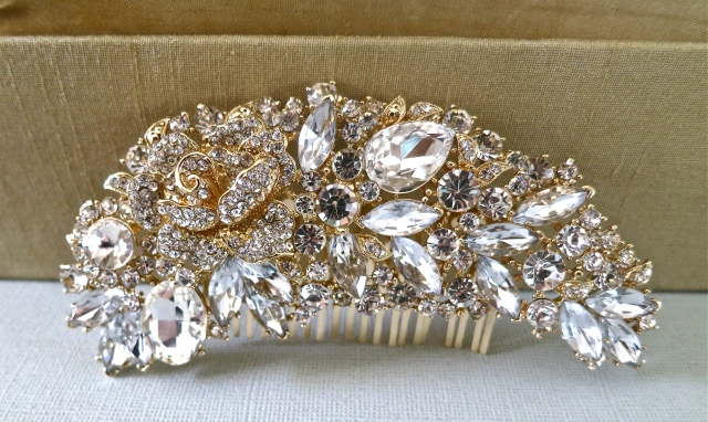 Vintage Style Bridal Comb - Wedding Hair Comb - Gold Bridal Comb - Floral Crystal Hair Comb - Wedding Hair Accessory - Bridal Accessories  Ask a Question